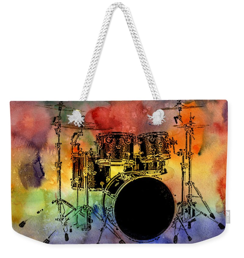 Drums Weekender Tote Bag featuring the photograph Psychedelic Drum Set by Athena Mckinzie