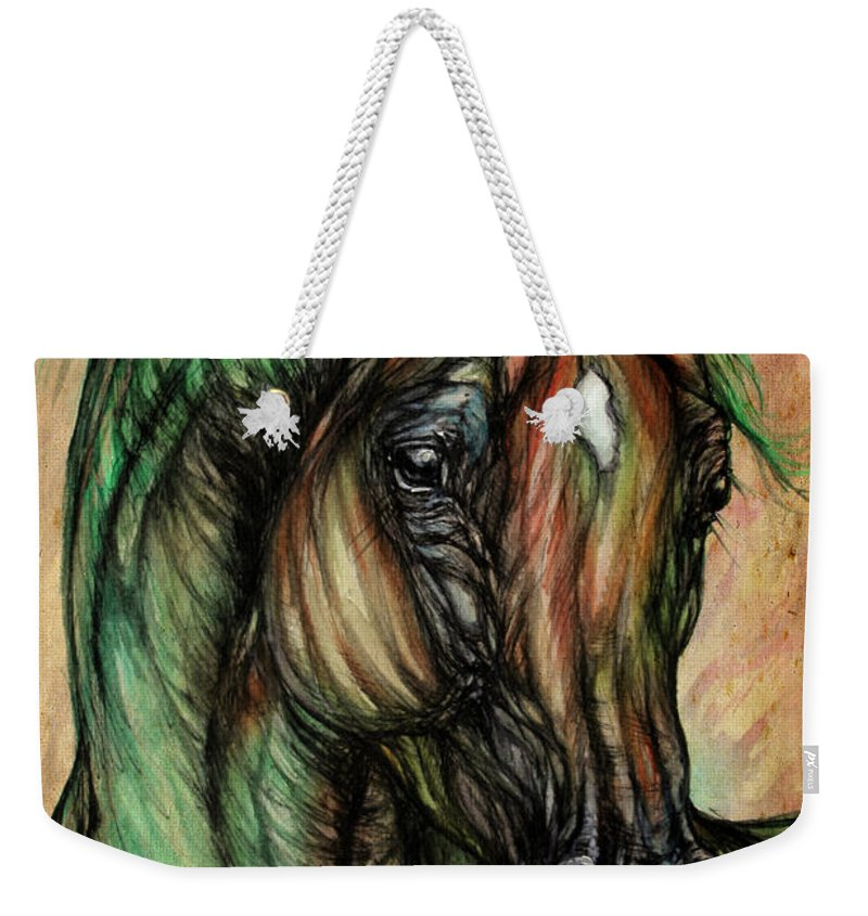 Horse Weekender Tote Bag featuring the painting Psychedelic Green And Pink by Angel Ciesniarska