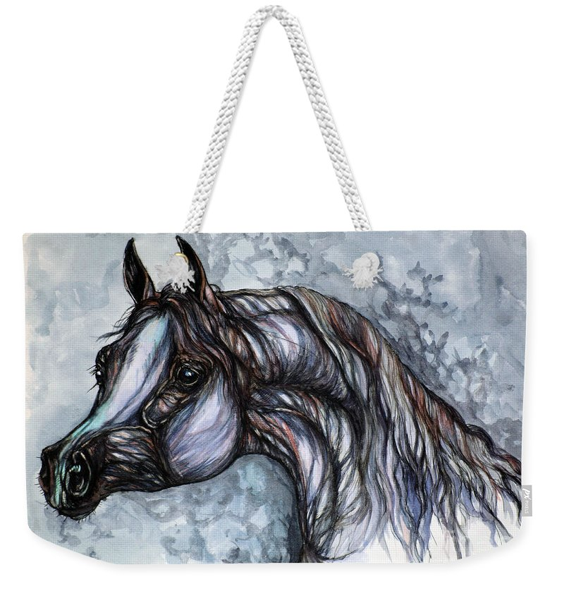 Horse Weekender Tote Bag featuring the painting Psychedelic Grey And Blue by Angel Ciesniarska