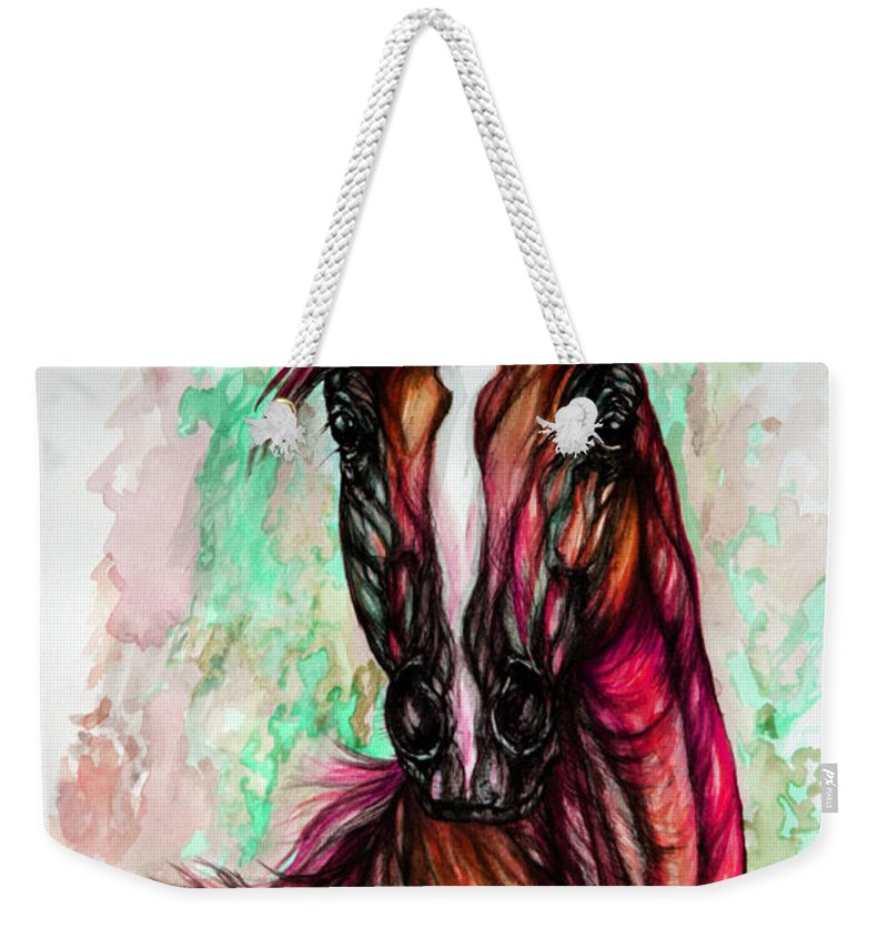 Horse Weekender Tote Bag featuring the painting Psychedelic Pink And Green by Angel Ciesniarska