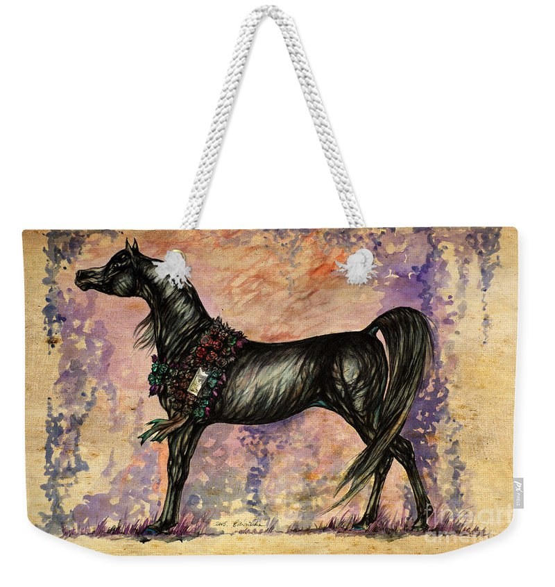 Horse Weekender Tote Bag featuring the painting Psychodelic Black And Blue by Angel Ciesniarska