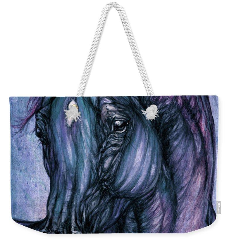 Horse Weekender Tote Bag featuring the painting Psychodelic Deep Blue by Angel Ciesniarska