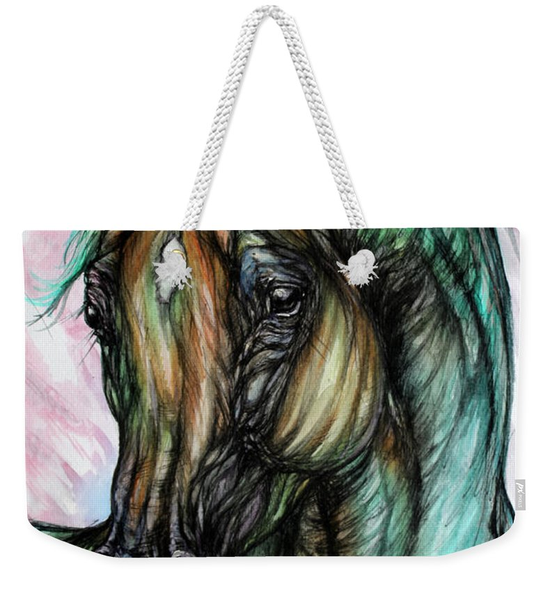 Horse Weekender Tote Bag featuring the painting Psychodelic Pink And Green by Angel Ciesniarska