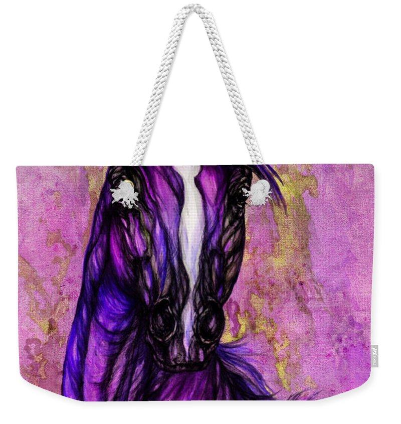 Weekender Tote Bag featuring the painting Psychodelic Purple Horse by Angel Ciesniarska