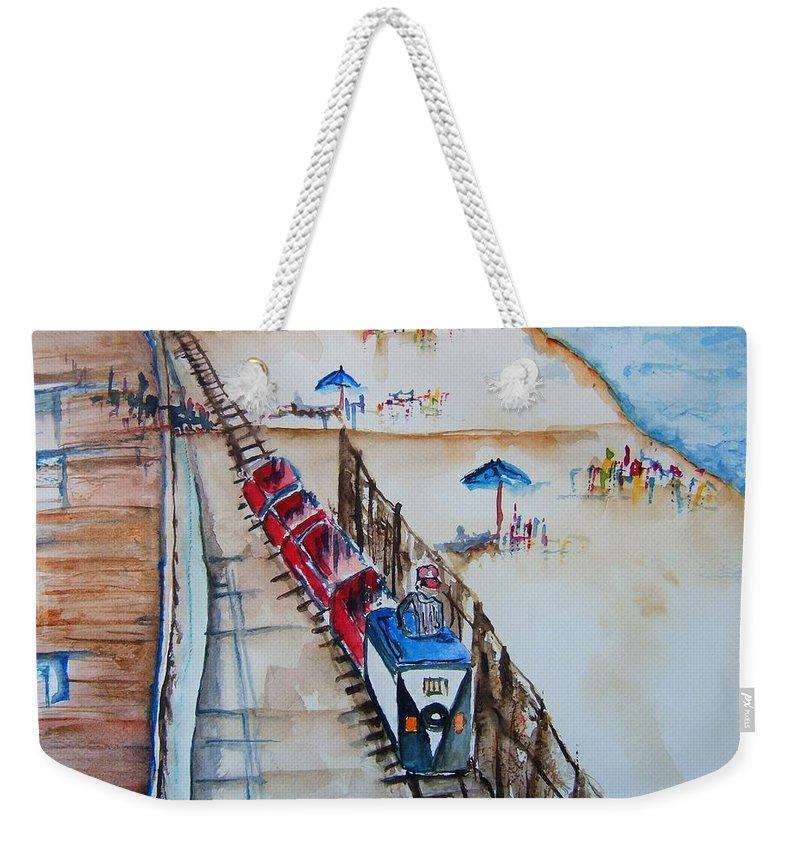 Point Pleasant Beach Weekender Tote Bag featuring the painting Pt Pleasant Nj Sand Train by Elaine Duras