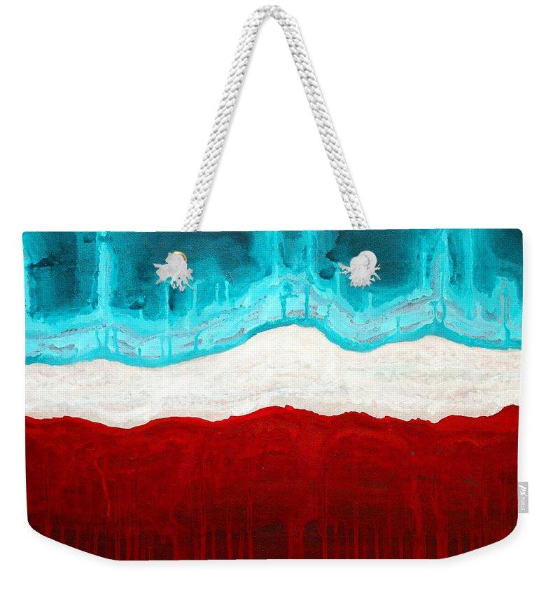 Native American Weekender Tote Bag featuring the painting Pueblo Cemetery Original Painting by Sol Luckman