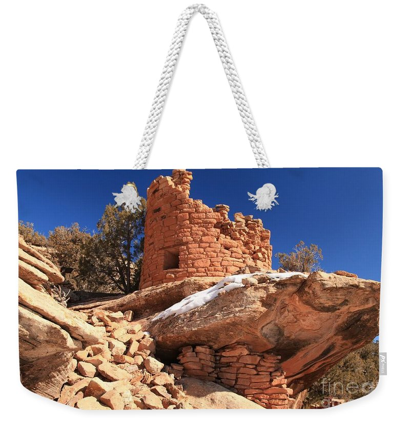 Canyon Of The Ancients Weekender Tote Bag featuring the photograph Pueblo Cliff by Adam Jewell