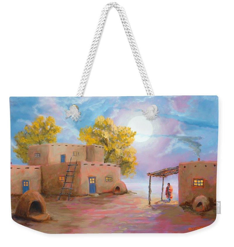 Pueblo Weekender Tote Bag featuring the painting Pueblo De Las Lunas by Jerry McElroy