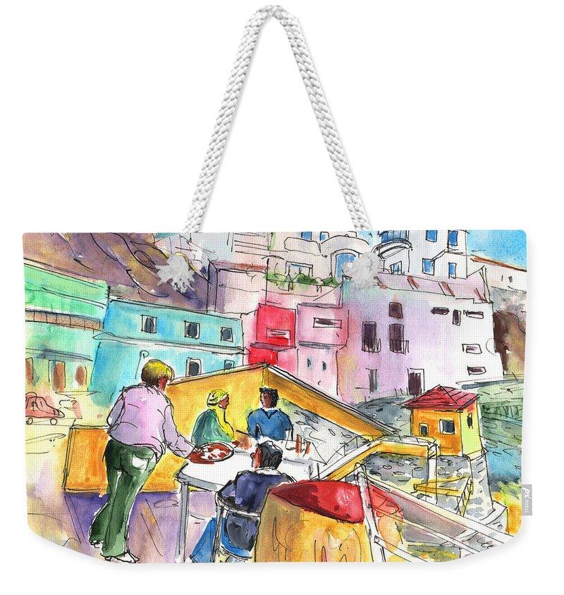 Travel Weekender Tote Bag featuring the painting Puerto De Sardina 01 by Miki De Goodaboom