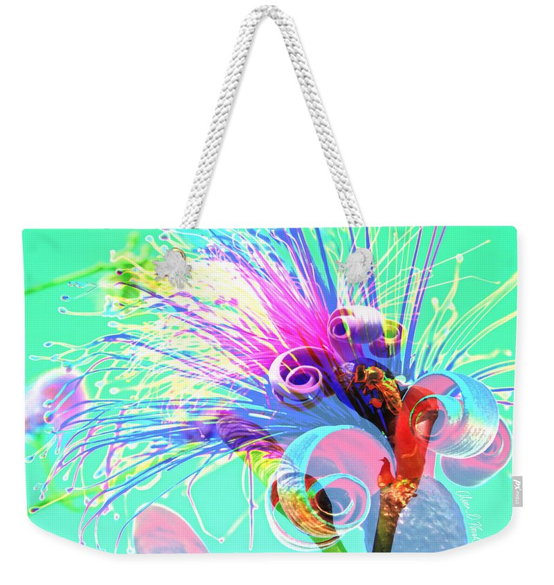 Tropical Puffy Pink Bloom Abstract Weekender Tote Bag featuring the photograph Puffy Bloom W Bee Abstract by Olivia Novak
