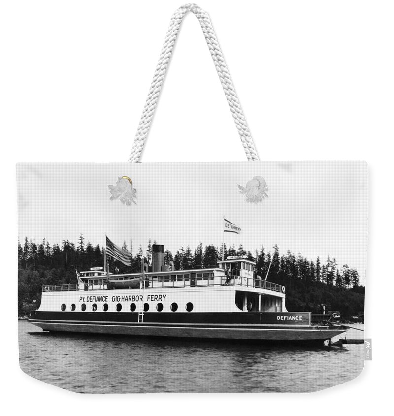 1927 Weekender Tote Bag featuring the photograph Puget Sound Ferry Boat by Underwood Archives
