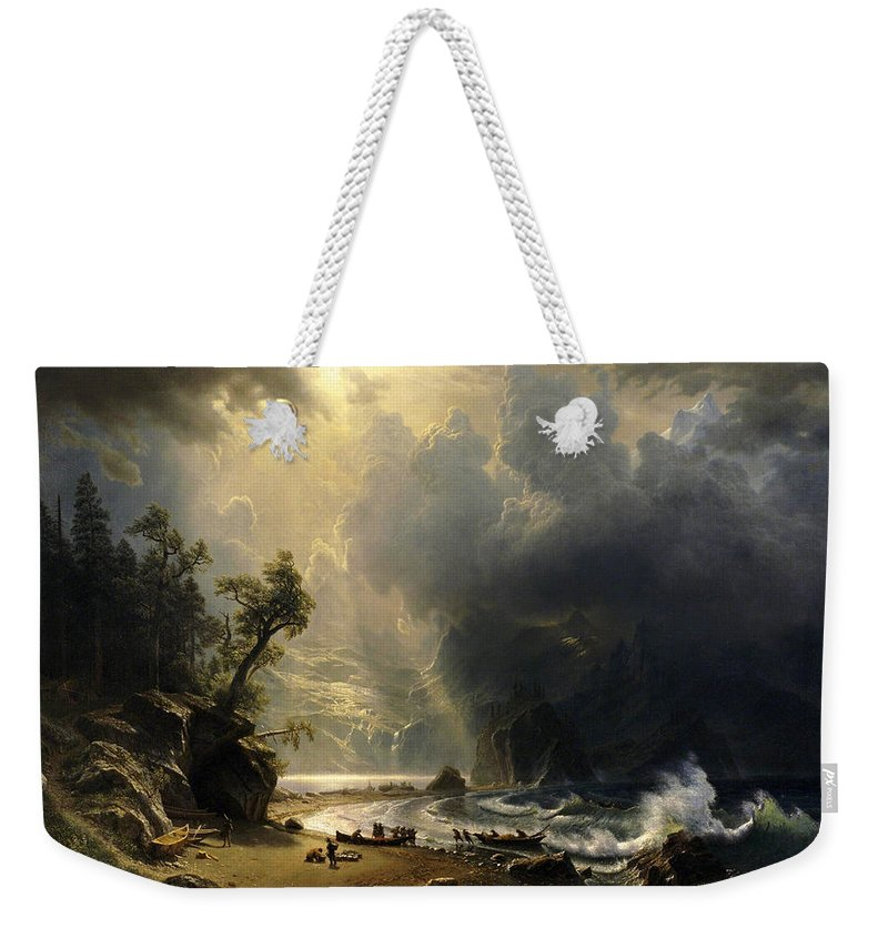 Albert Bierstadt Weekender Tote Bag featuring the painting Puget Sound On The Pacific Coast by Albert Bierstadt