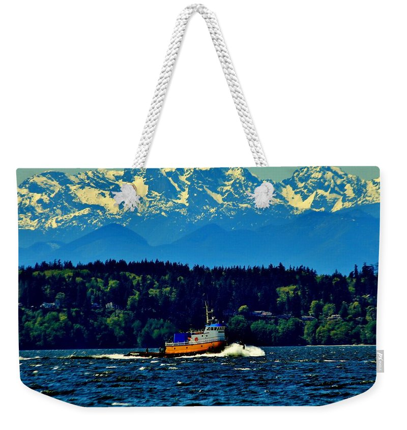 Puget Weekender Tote Bag featuring the photograph Puget Sound Tugboat by Benjamin Yeager