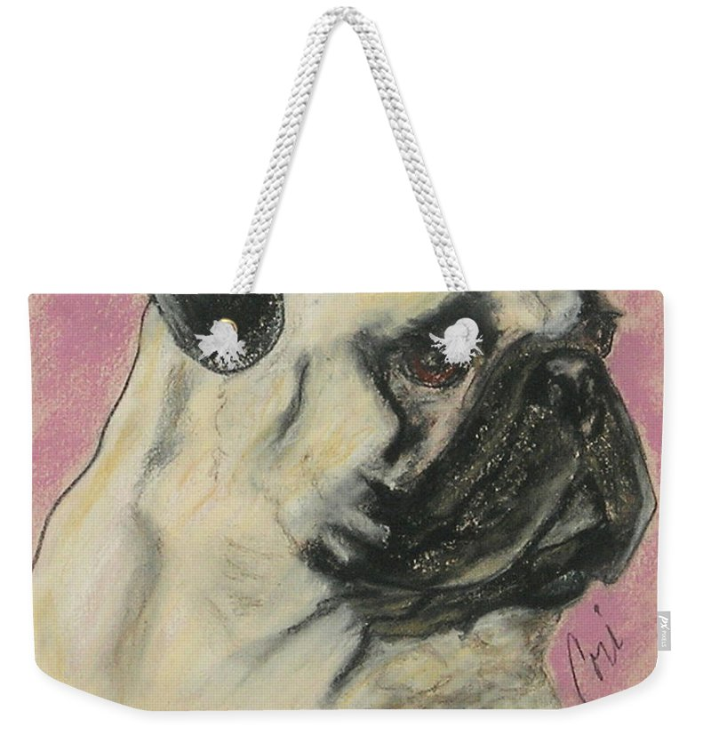 Pug Weekender Tote Bag featuring the drawing Pugnacious by Cori Solomon