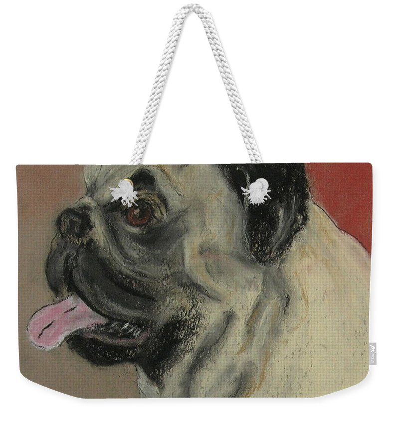 Pug Weekender Tote Bag featuring the drawing Pugster by Cori Solomon