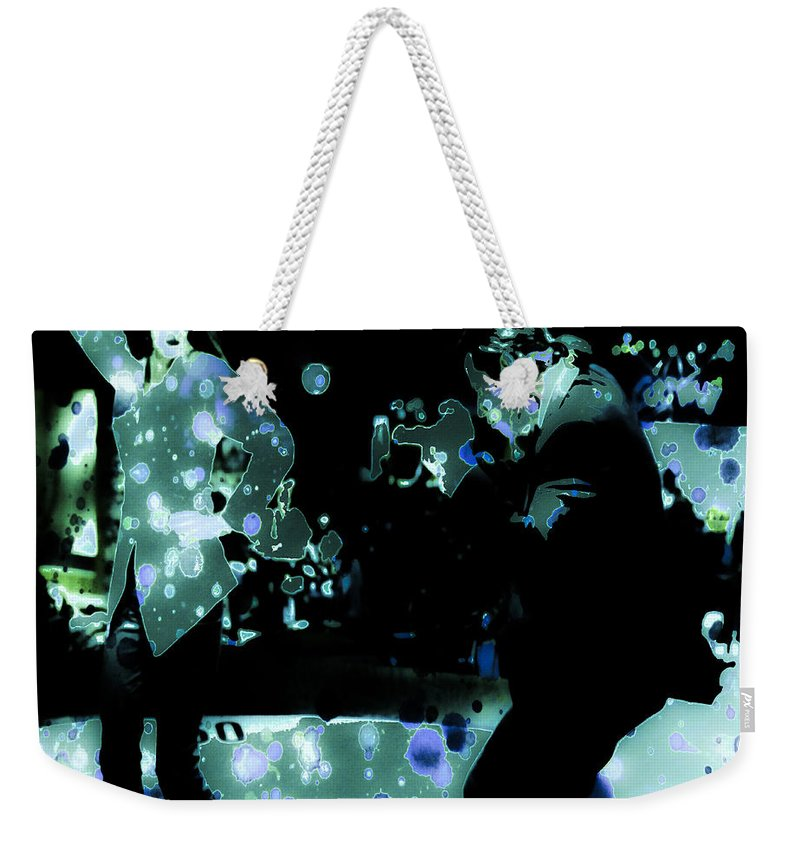 Pulp Fiction Weekender Tote Bag featuring the digital art Pulp Fiction Dance Glow by Brian Reaves