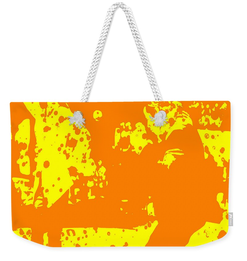 Pulp Fiction Weekender Tote Bag featuring the digital art Pulp Fiction Dance Orange by Brian Reaves