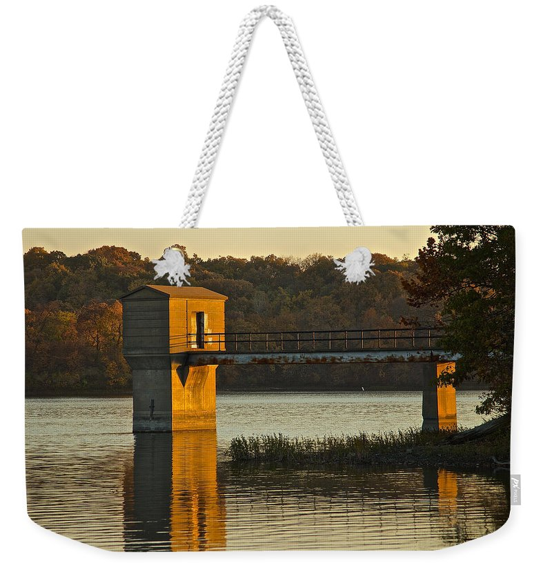 Lake Weekender Tote Bag featuring the photograph Pump House by Ken Kobe
