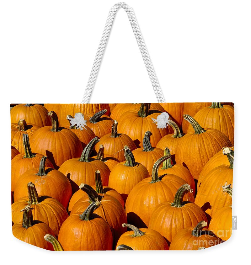 Pumpkin Weekender Tote Bag featuring the photograph Pumpkins by Anthony Sacco