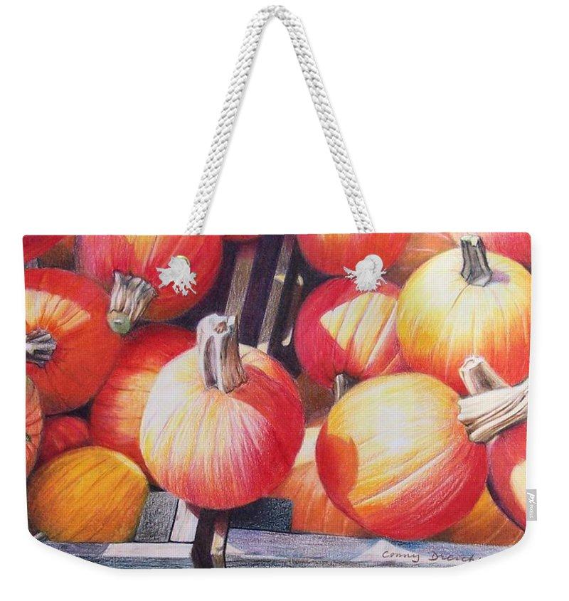 Pumpkins Weekender Tote Bag featuring the painting Pumpkins by Constance Drescher
