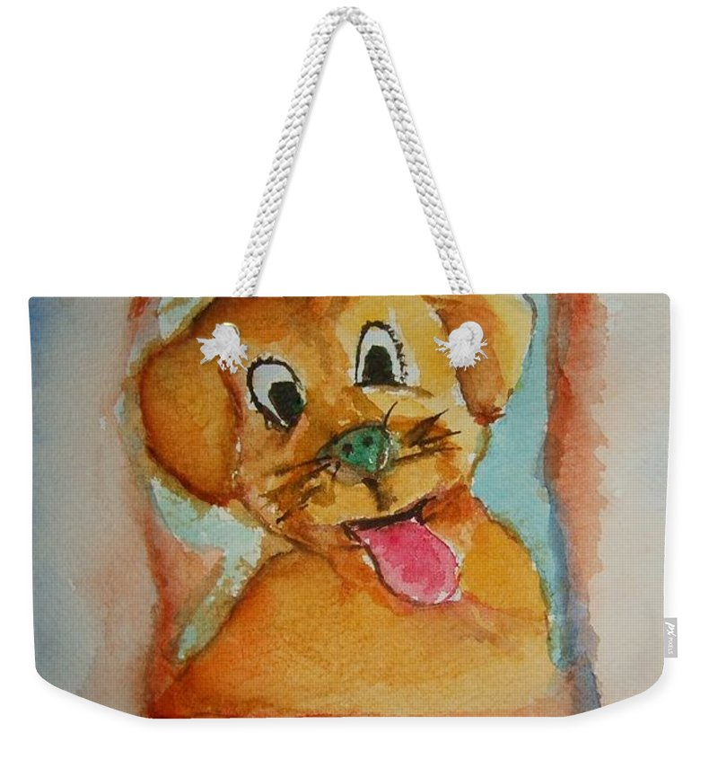 Puppy Weekender Tote Bag featuring the painting Puppy by Elaine Duras