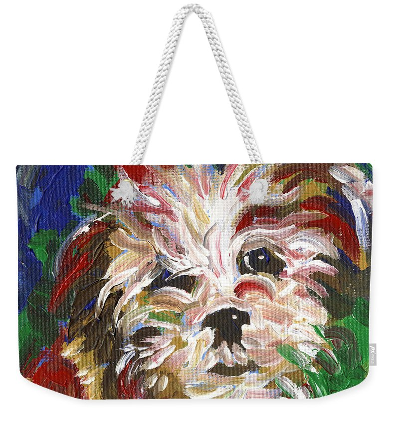 Puppy Weekender Tote Bag featuring the painting Puppy Spirit 101 by Linda Mears