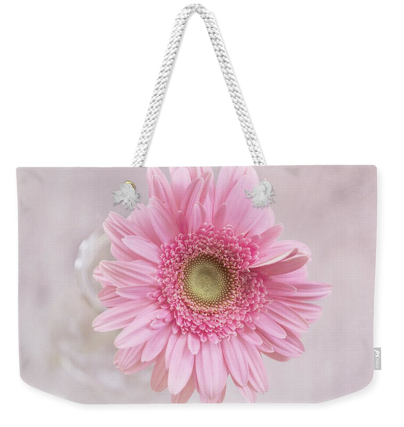 Gerbera Daisy Weekender Tote Bag featuring the photograph Purity Of The Heart by Kim Hojnacki
