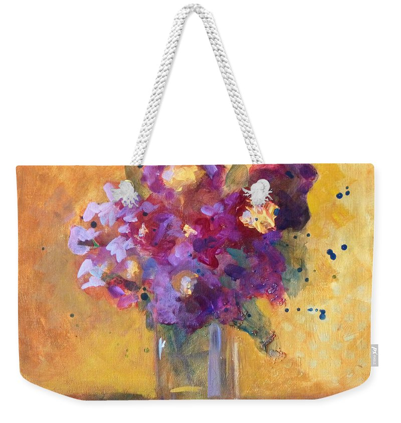 Purple Abstract Weekender Tote Bag featuring the painting Purple Abstract by Nancy Merkle