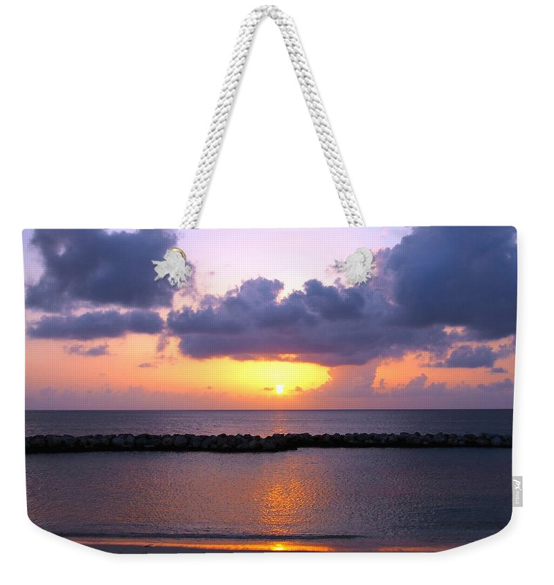 Sunset Weekender Tote Bag featuring the photograph Purple And Pink Sunset Caribbean Dream by Amy McDaniel