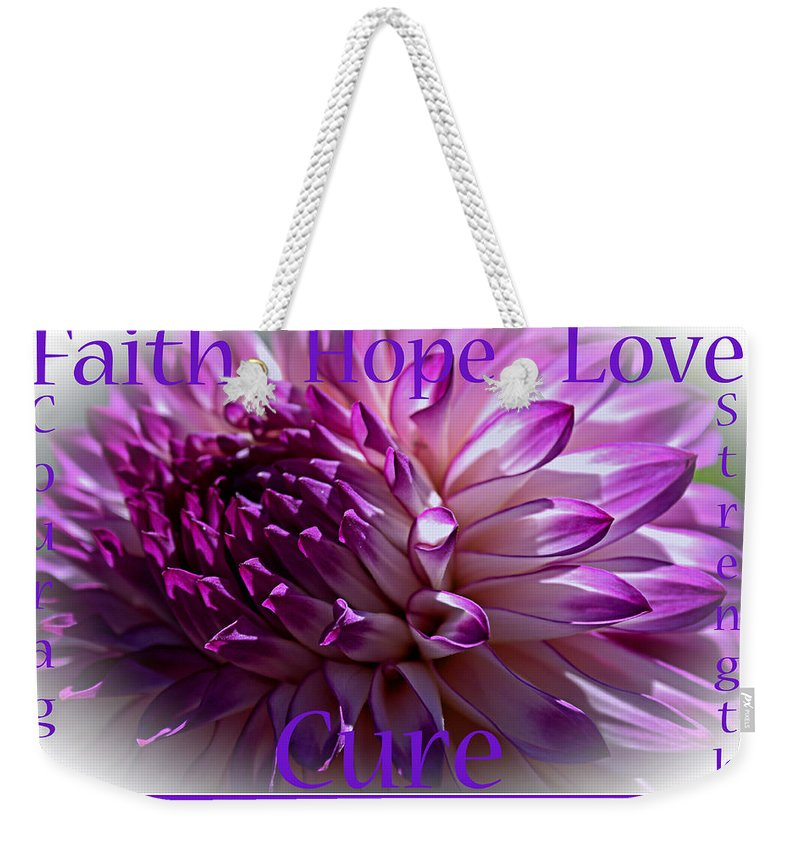 Alzheimer's Disease Weekender Tote Bag featuring the photograph Purple Awareness Support by Tikvah's Hope