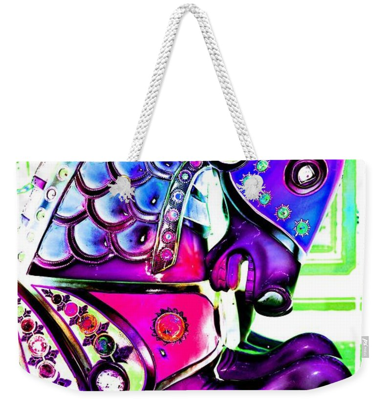 Carousel Weekender Tote Bag featuring the digital art Purple Carousel Horse by Patty Vicknair