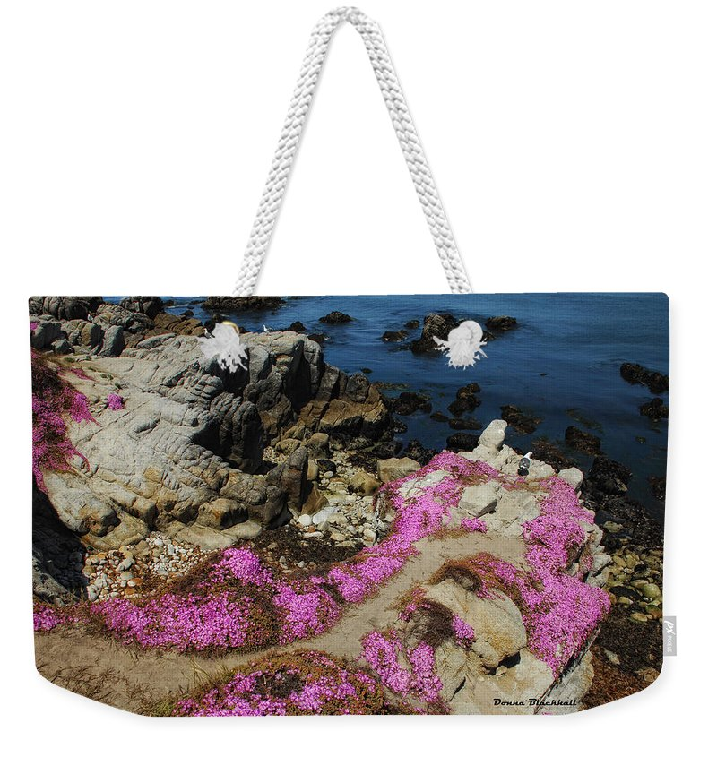 Purple Carpet Weekender Tote Bag featuring the photograph Purple Carpet And The Gulls by Donna Blackhall