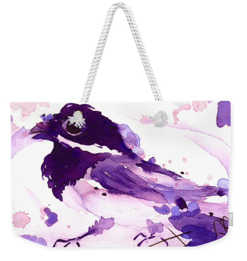 Chickadee Weekender Tote Bag featuring the painting Purple Chick by Dawn Derman