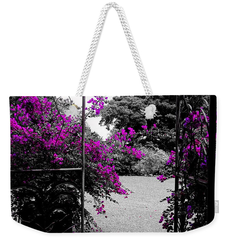 Bougainvilleas Weekender Tote Bag featuring the photograph Purple Entrance by Douglas Barnard