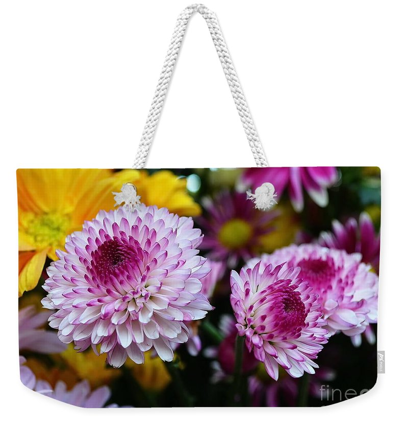 Michelle Meenawong Weekender Tote Bag featuring the photograph Purple Explosion by Michelle Meenawong