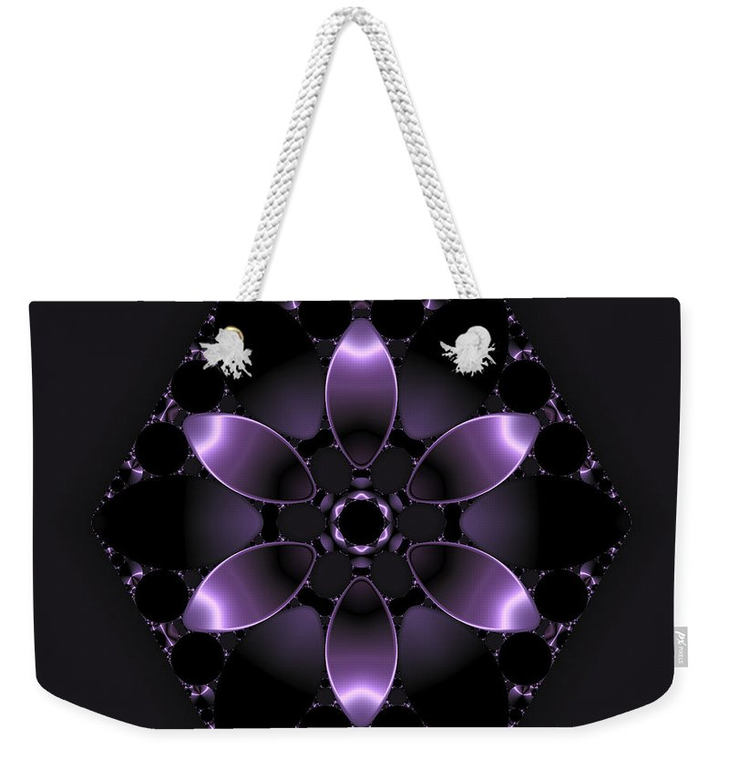 Abstract Weekender Tote Bag featuring the digital art Purple Fantasy Flower by Judi Suni Hall