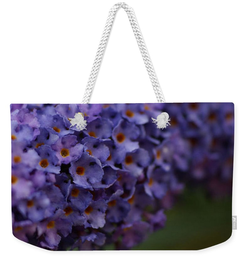 Purple Weekender Tote Bag featuring the photograph Purple Flowers 1 by Carol Lynch