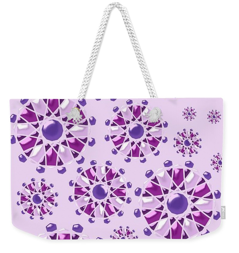 Abstract Weekender Tote Bag featuring the digital art Purple Gems by Anastasiya Malakhova