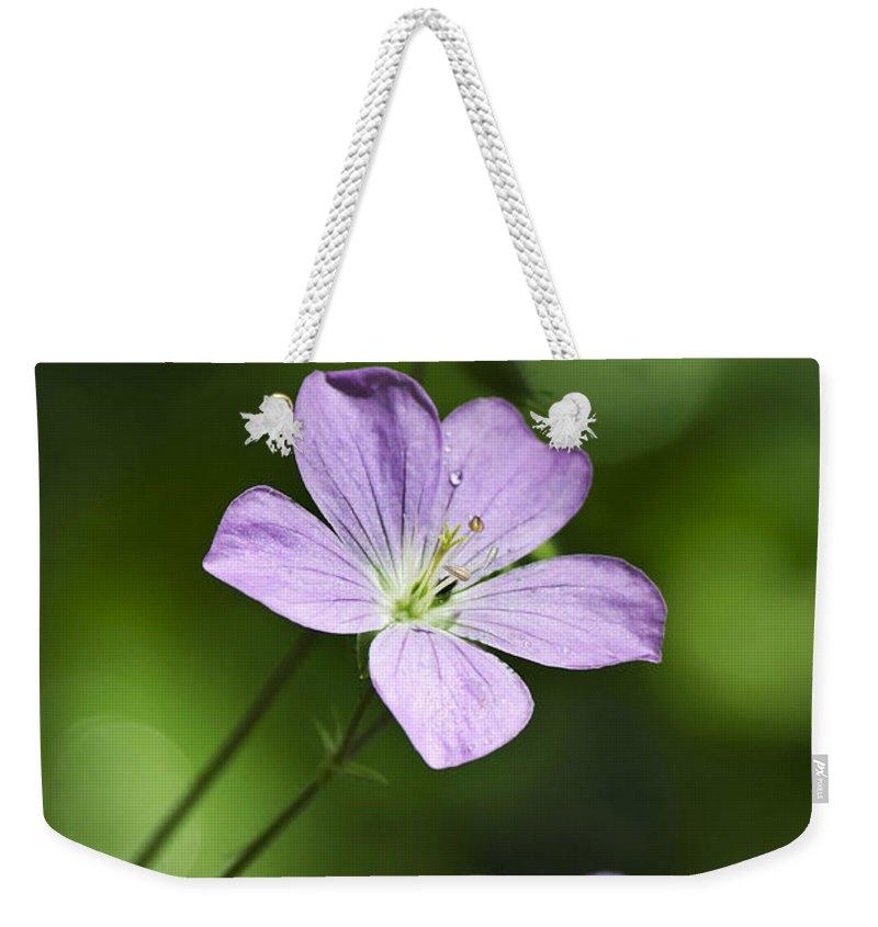 Geranium Weekender Tote Bag featuring the photograph Purple Geranium Flowers by Christina Rollo