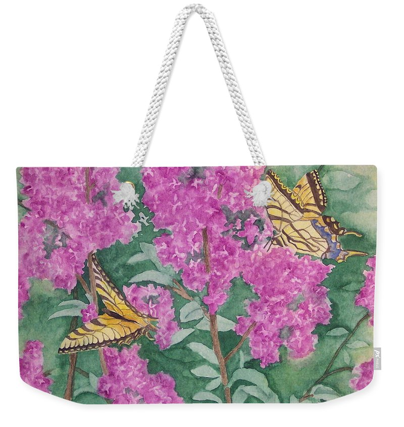 Lilacs Weekender Tote Bag featuring the painting Purple Haze Cafe by Rhonda Leonard