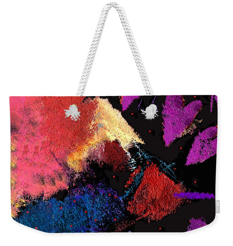 Hearts Weekender Tote Bag featuring the digital art Purple Hearts by Dale Moses