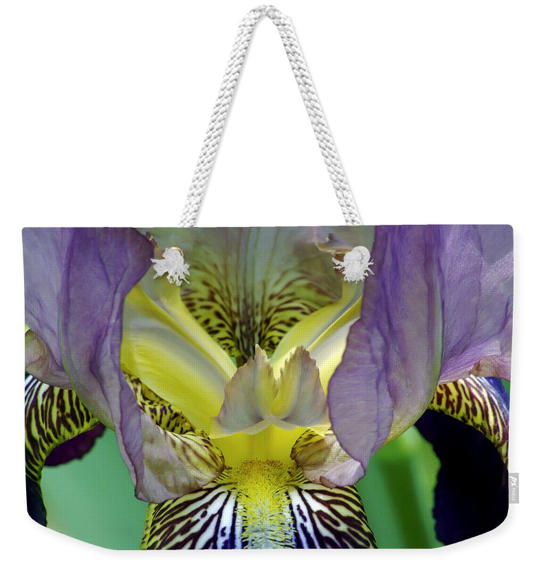 2d Weekender Tote Bag featuring the photograph Purple Iris by Brian Wallace