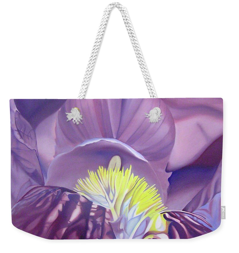 Flower Weekender Tote Bag featuring the painting Georgia O'keeffe Style-purple Iris by Joshua Morton