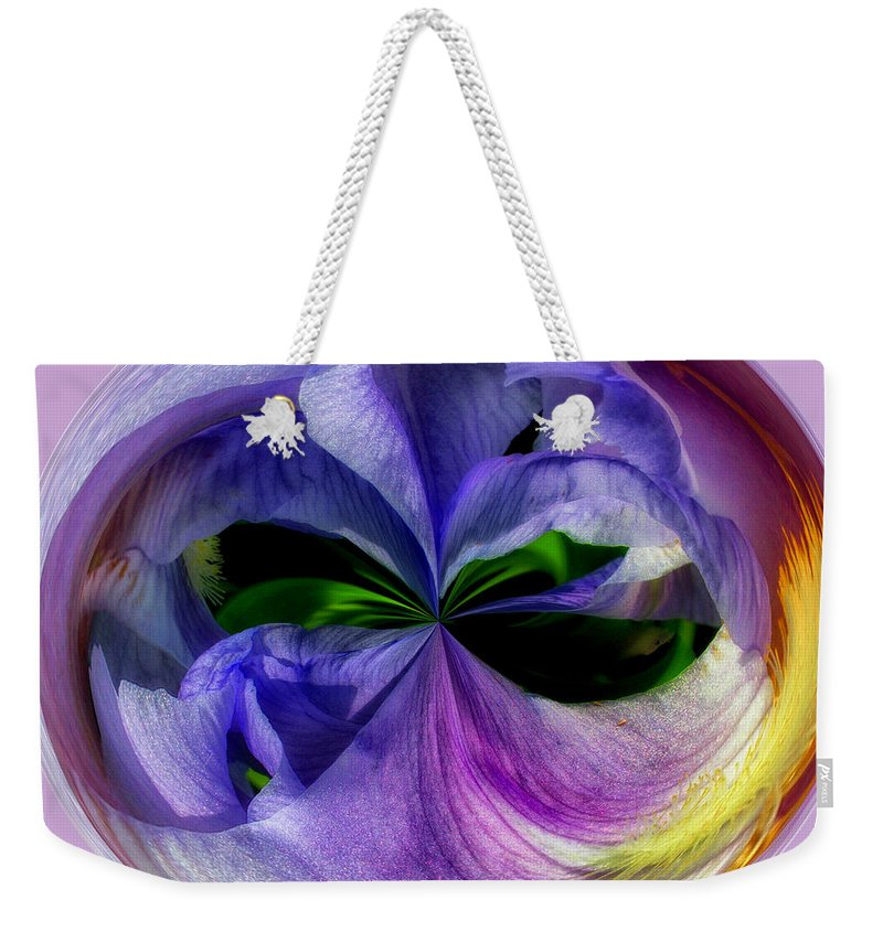 Purple Weekender Tote Bag featuring the photograph Purple Iris Orb by Scott Hervieux