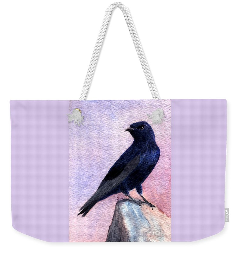 Bird Weekender Tote Bag featuring the painting Purple Martin by Lynn Quinn