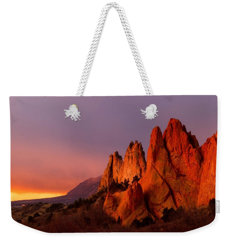 Garden Of The Gods Weekender Tote Bag featuring the photograph Purple Morning At Garden Of The Gods by Ronda Kimbrow
