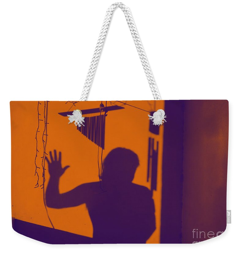 Shadow Weekender Tote Bag featuring the photograph Purple Orange Figure Shadow by Christopher Shellhammer