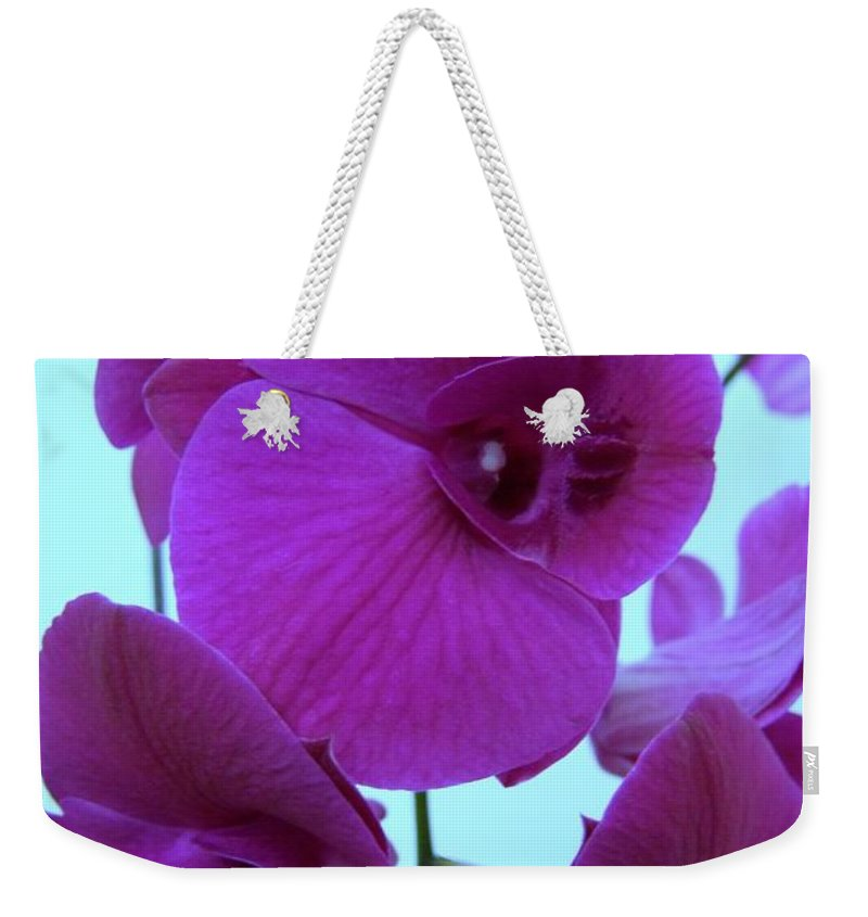 Orchid Weekender Tote Bag featuring the photograph Purple Orchids 3 by Mary Deal