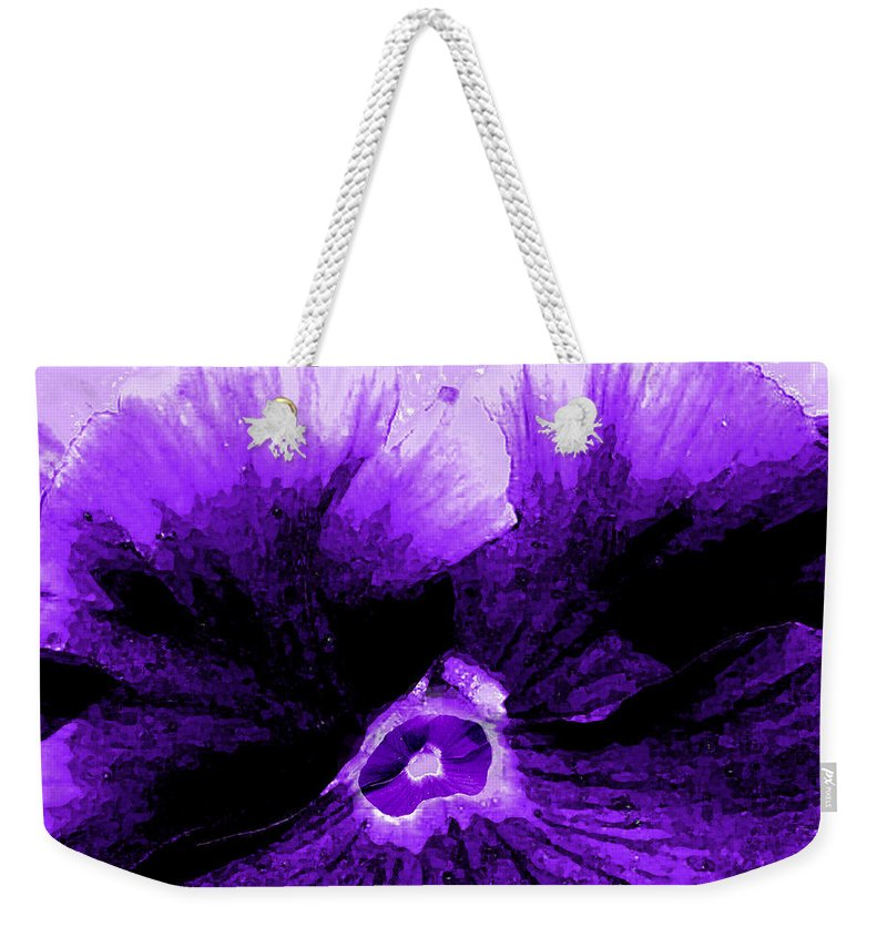 Pansy Weekender Tote Bag featuring the photograph Purple Pansy Rising by Michele Avanti