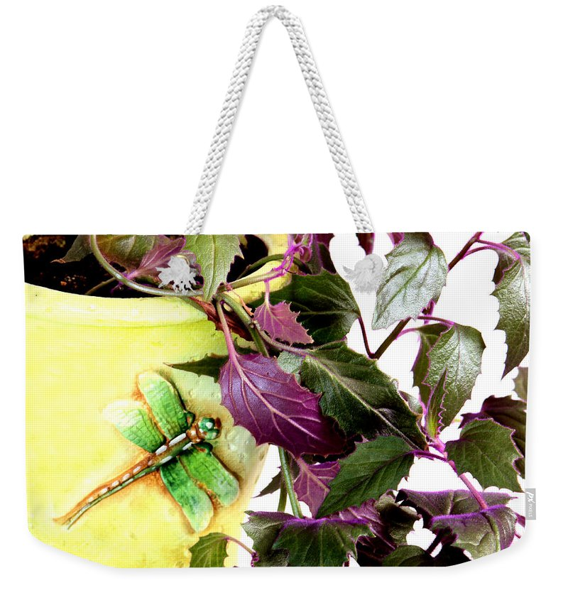 Purple Passion Plant Weekender Tote Bag featuring the photograph Purple Passion And Dragonfly Pot by Barbara Griffin